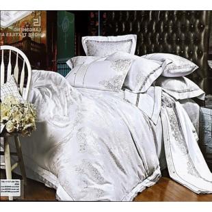 Постельное белье из жаккарда белое с серой отделкой