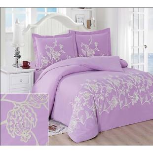 Нежно-лиловое постельное белье с белой вышивкой кружевом из сатина