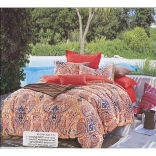 Набор постельного белья кораллового оттенка с восточным орнаментом