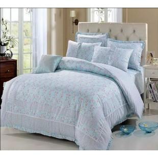Небесное постельное белье с оборками Прованс