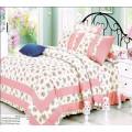 КПБ бело-розовой гаммы с цветочными соцветиями серии Provence