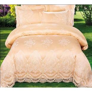 Нежно-персиковое постельное белье сатин с гипюром