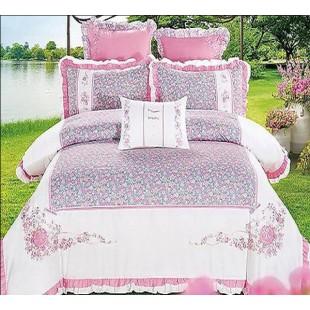 Изысканный комплект постельного белья бело-розовый в мелкий цветочек