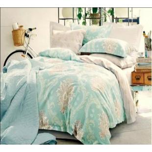 Молочно-бирюзовое постельное delux материал сатин с шелковыми нитями