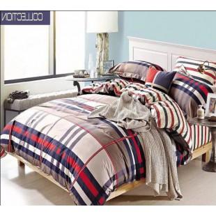 Клетчато-полосатое постельное белье из твила