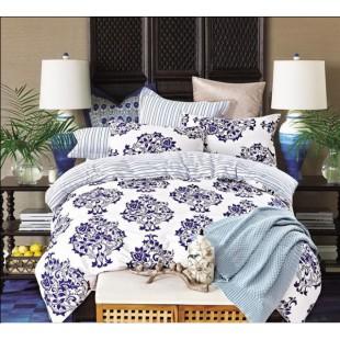 Постельное белье с белым фоном и темно-синими розетками и полосами