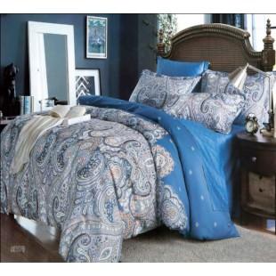 Восточный комплект постельного белья в сине-серой гамме с узорами пейсли