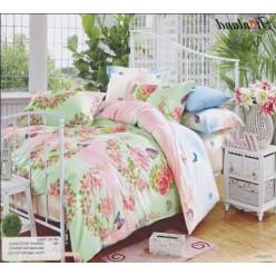 Салатово-персиковое постельное белье на весеннюю тематику - твил