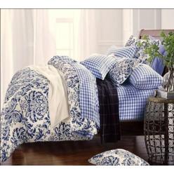 Двустороннее постельное белье сливочно-синее с вензелями и клеткой