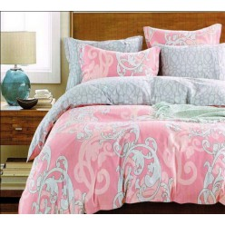 Постельное белье розовое с серыми в сочетании с крупным и мелким узором