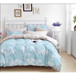 Кремово-голубое постельное белье с цветочным дизайном из премиум твила