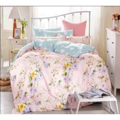 Постельное белье светло-розовое с голубым с рисунком из вьющихся цветов