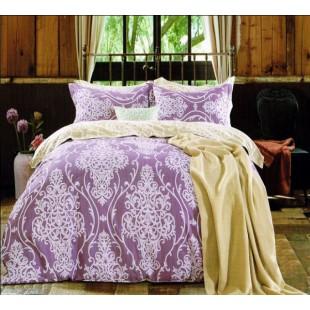 Лилово-бежевое постельное белье из твила с крупными светлыми узорами