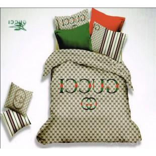 Бежевое постельное белье Gucci с логотипом и полосами