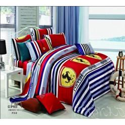 Комплект белья с логотипом Ferrari красный с синими полосками