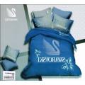 Постельное белье Swarovski синее с лебедем