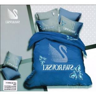 Постельное белье синего цвета Swarovski с лебедем сатин