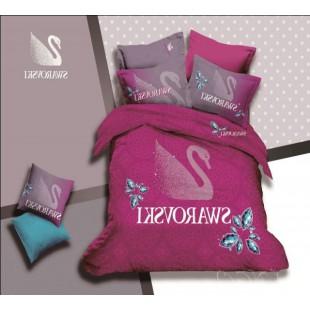 Постельное белье Swarovski малинового цвета сатин