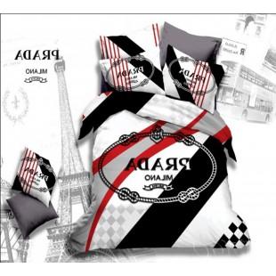 Постельное белье черно-белого цвета Prada Milano сатин