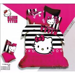 Сатин для девочек с Hello Kitty фуксия и черно-белые полоски