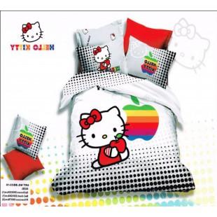 Постельное белье черно-белого цвета с Apple и Hello Kitty сатин