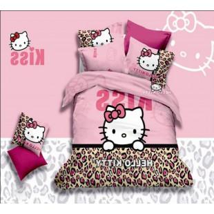 Постельное белье розово-леопардовой расцветки с Hello Kitty Kiss сатин