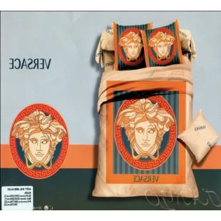Брендовое постельное белье с логотипом Версаче в оранжево-синем цвете сатин