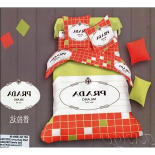 Постельное белье оранжевого цвета с зеленым Прада сатин