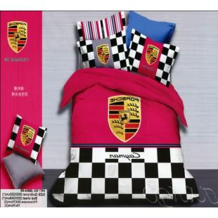 Постельное белье Porsche Cayman розовое с серым