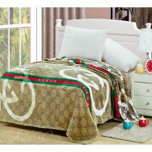 Плед с брендом Gucci коричневый полуторка из микрофибры