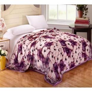 Плед со светлыми и лиловыми цветами - евро размер