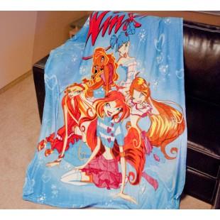 Детский плед - Волшебницы клуба Winx на голубом фоне