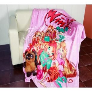 Детский плед Винкс розовый