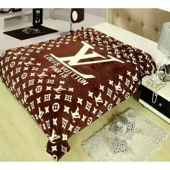 Плед с логотипом Луи Витон шоколадный