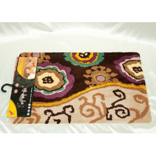 Коврик для ванной коричнево-бежевого цвета с растительным рисунком