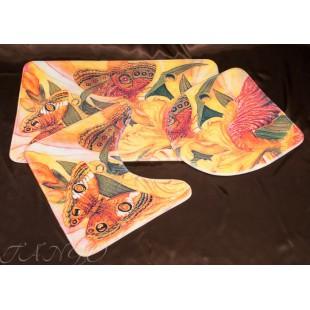 Набор для ванной комнаты - Яркие бабочки в диких цветах
