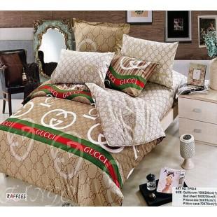 Комплект постельного белья с логотипом Gucci из твила