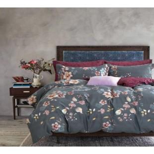 Постельное белье цвета мокрого асфальта с бордовым - цветы