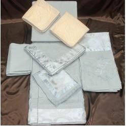 Стальной набор постельного белья 9 предметов из жаккарда и сатина