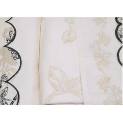 Постельное белье молочное с серой вышивкой и аппликацией - сатин
