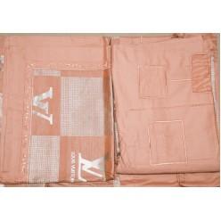 Жаккардовое постельное белье персиково-серое с принтом Louis Vuitton