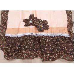 Постельное белье бежево-шоколадное с вышивкой и аппликацией Cristelle
