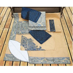 Золотисто-синее постельное люкс класса с покрывалом 10 предметов - восточные мотивы