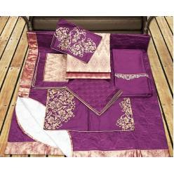 Набор элитного постельного лиловой гаммы с бежевым