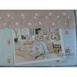 Светло-коричневый комплект постельного белья в белый горошек и цветами